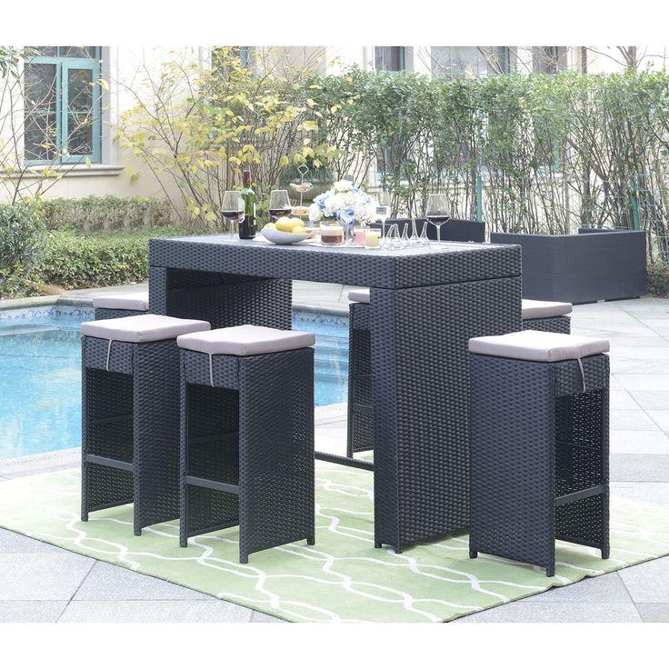 DG Casa Miami Grey Wicker Table and 6-stool Bar Set