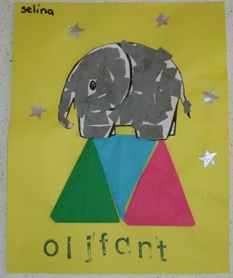 Olifant opvullen  De olifant vullen de kinderen op met stukjes grijs papier (dit…