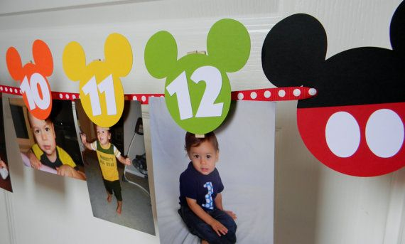 Mickey Mouse Clubhouse Birthday Party with a picture of ry for each month of the…