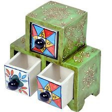 Wooden Ceramic Blue Pottery Triple Drawer Set (UFC00171)