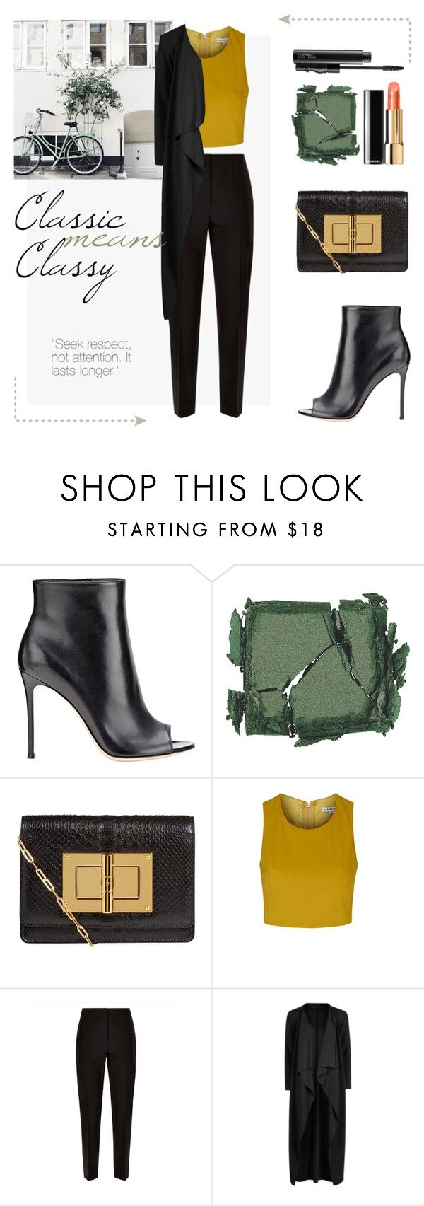 """""""Classic means classy"""" by taniadeseptembre ❤ liked on Polyvore featuring Gianvito Rossi, Surratt, Tom Ford, Topshop, Jaeger, Boohoo, MAC Cosmetics, classic and classy"""