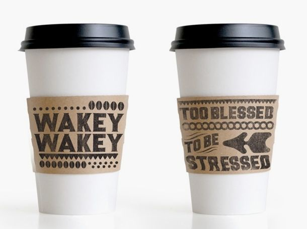 Coffee cups - white w/ black top, brown w! Black business name cup sleeve