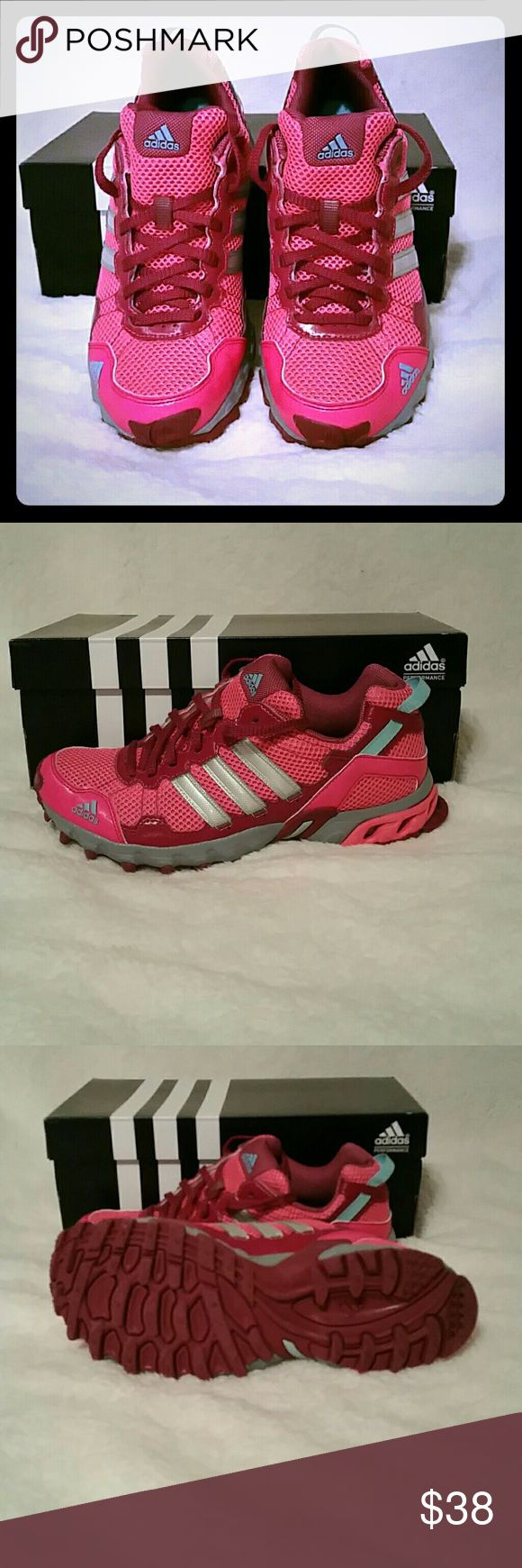 Adidas thrasher trail running shoes Pink adidas trail running shoes. I've never used them because they did not fit.They are in perfect shape. Adidas Shoes Athletic Shoes