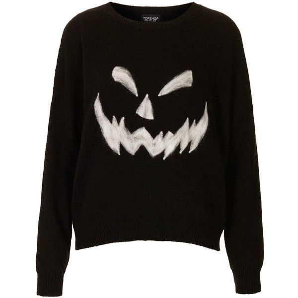 TOPSHOP Knitted Pumpkin Face Jumper found on Polyvore
