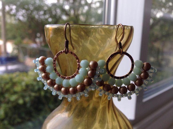 Copper and pale Aqua Czech glass fan earrings.