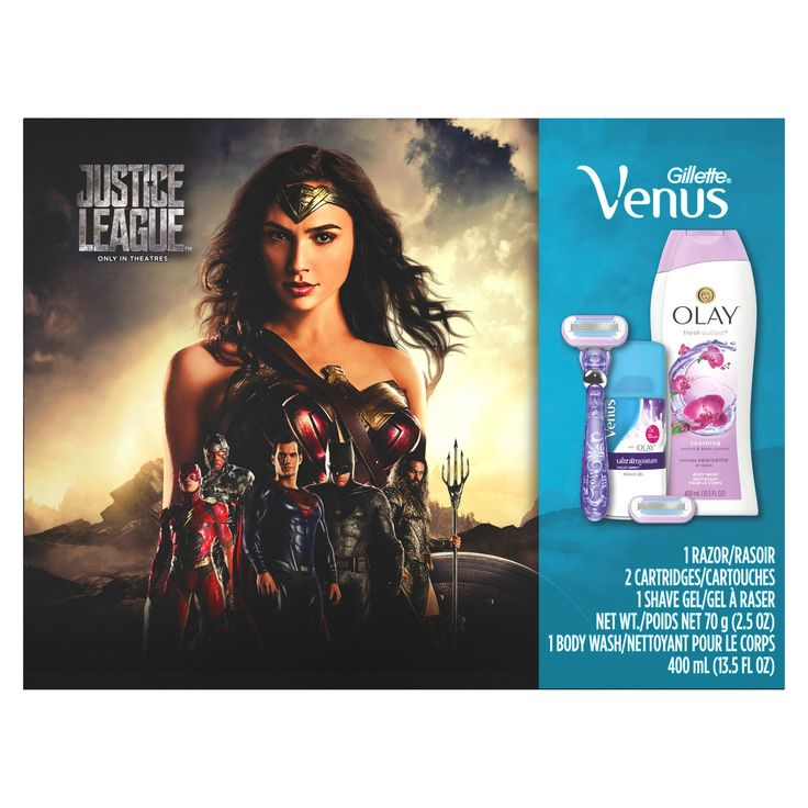 Gillette Justice League Venus Swirl Razor - Venus with Olay Shave Gel - Olay Body Wash Gift Set