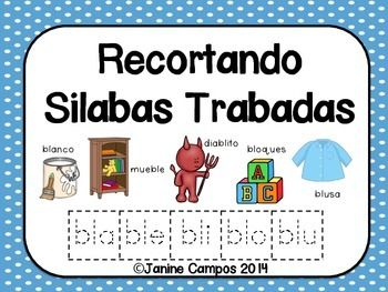 Silabas Trabadas - Silabas Mediales y Finales  - Recortando silabas trabadas (silabas finales y silabas mediales) para las cinco vocales. Cada consonante se combina con un vocal. Por ejemplo FRA, FRE, FRI, FRO, FRU. Hace buen practica para el reconocimiento fonológico. (Cut and Paste pages for sorting Syllable Blends - Students match pictures to medial or final syllables in each Spanish word. Great for blending practice and phonemic awareness.)