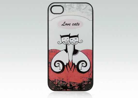 Cat iPhone 4 case iPhone 4s case love cats by HappyStripedCats