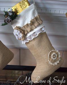 diy burlap christmas stocking tutorial, crafts, seasonal holiday d cor, DIY Burlap Christmas Stockings
