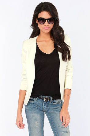 Cute young mom look!!! We Won't Stop Ivory Vegan Leather Blazer at LuLus.com!