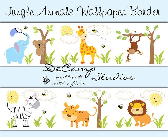 SAFARI JUNGLE ANIMAL Decal Wallpaper Border Boy Wall Art