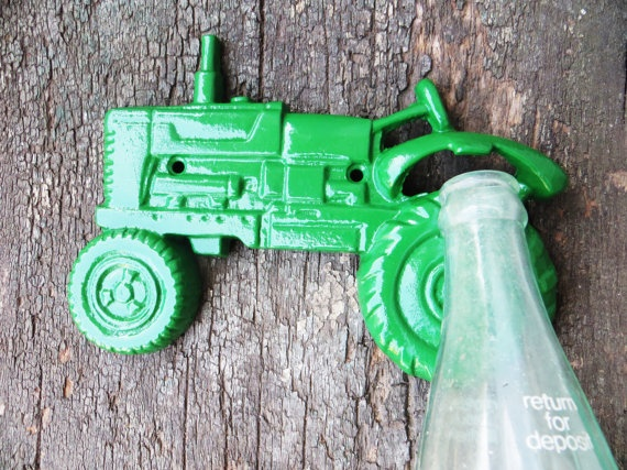 Tractor Bottle Opener -- 23 COLORS -- Iron -- John Deer, Rustic, Man Cave, Country, Barn, Red Neck, Farmer. $11.99, via Etsy.