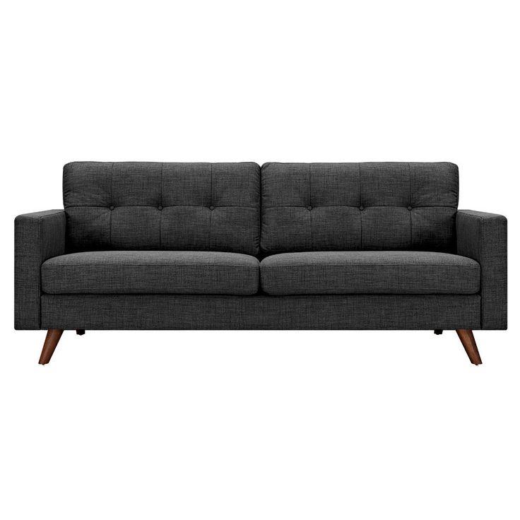 Ames Charcoal Gray Sofa - Walnut