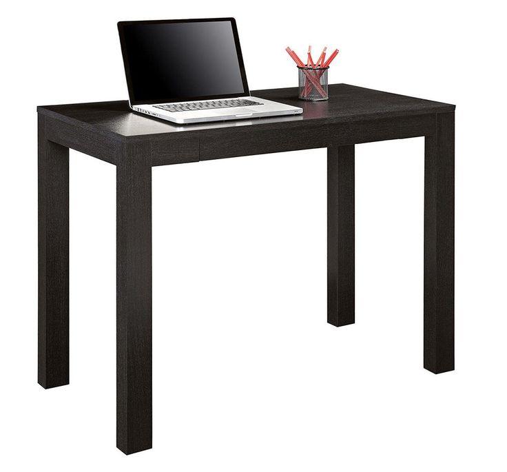 Writing Computer Desk Center Storage Drawer Home Office Study Hallway Black Oak #AF #Modern