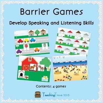 This set of 4 barrier games promotes speaking and listening as children must give each other specific instructions in order to match their pictures. Language skills addressed include auditory processing, giving and following directions, requesting clarification and describing with detail. Both receptive and expressive language skills are targeted.