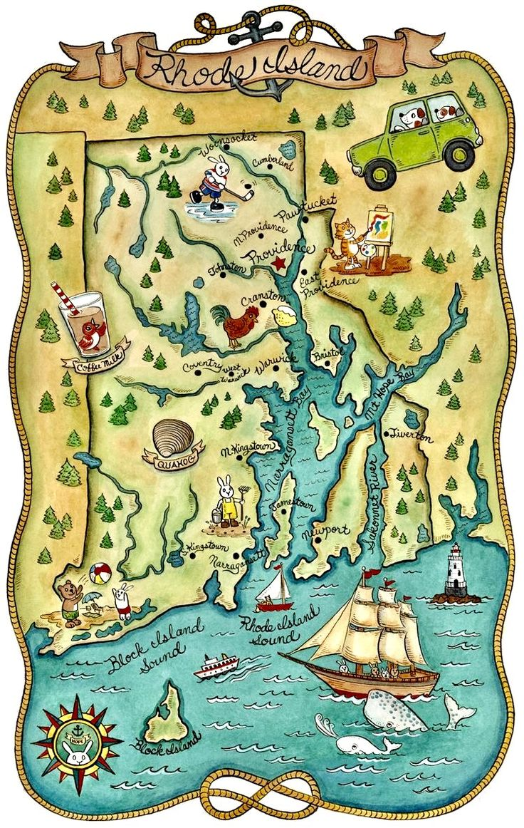 41 best favorite places spaces images on pinterest rhodes kitschy vintage map of rhode island geenschuldenfo Image collections