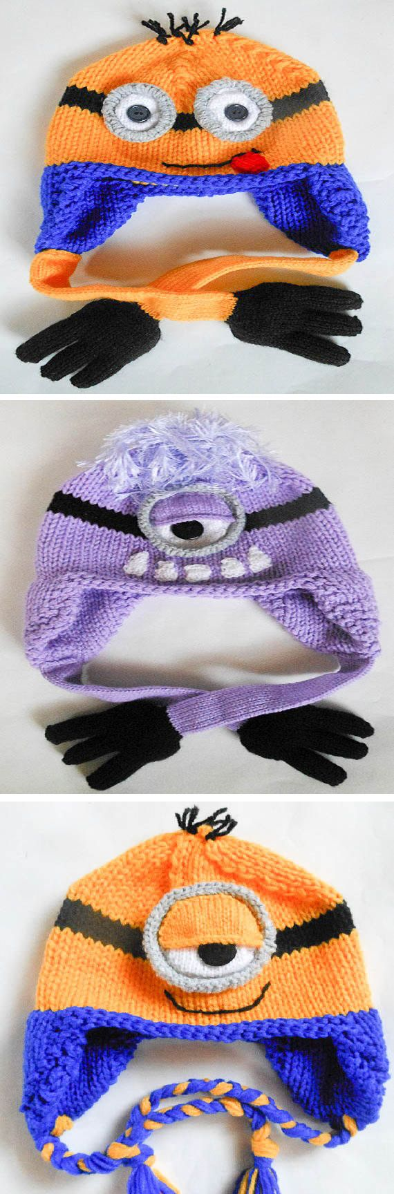 Knitting patterns for Minion Earflap Hats - This pattern comes with instructions for a variety of eyes and mouths as well as adorably cute hands or braided ties to tie the hats.  Pattern is for 2 sizes: 3-8 years, 8-Adult, Etsy affiliate link