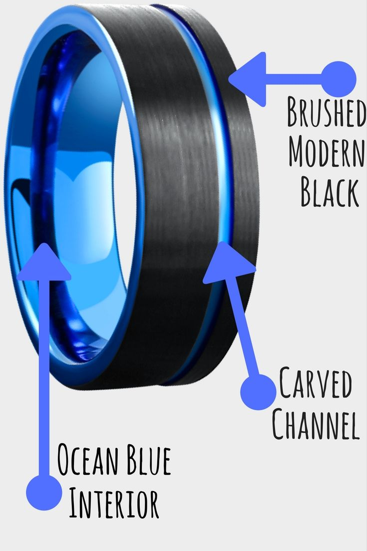 Mens Tungsten Wedding Band. This is a modern mens wedding band designed with a pipe cut deign. Offset ocean blue carved center channel running through the ring with a ocean blue interior. I love this mens wedding band!