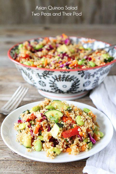 Asian Quinoa Salad #Recipe ~ Salad has quinoa, red cabbage, edamame, carrots, red pepper, cucumbers, and cilantro.  Dressing: sesame oil, rice wine vinegar, green onion, and sesame seeds.   . . . .   ღTrish W ~ http://www.pinterest.com/trishw/  . . . .