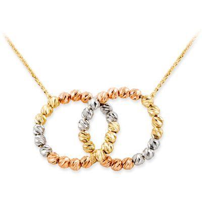 14 Ayar Altın Dorika Model Çift Halka Kolyesi