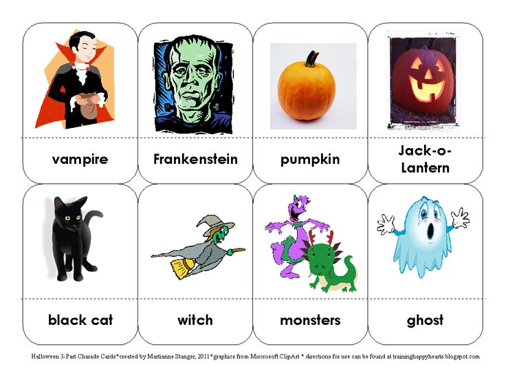 Charade Cards to Print | Training Happy Hearts: Halloween 3-Part Charades Cards Free Printable