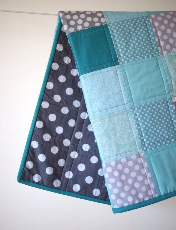 BABY QUILT Beautiful Blues and Grays Baby Quilt--love this one. :) I like how this is quilted on either side of the seams