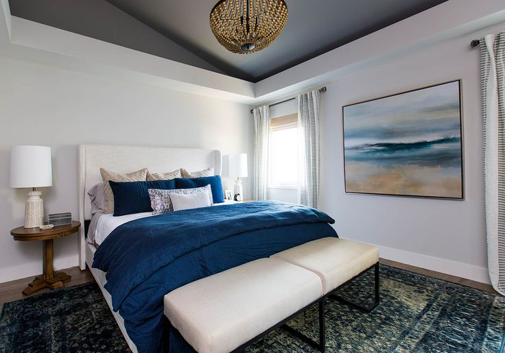Home Tour: A Serene Nashville Home for a Country Music Sweetheart, Laurel & Wolf, Kelsea's bedroom is filled with soothing blues and relaxing textures -- the perfect serene space to come home to after time on the road.