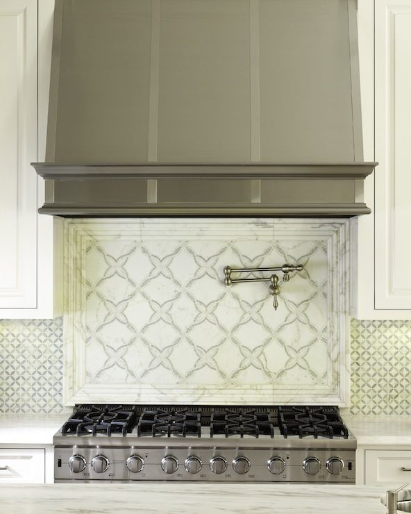 exquisite carrara marble geometric tile backsplash stainless steel