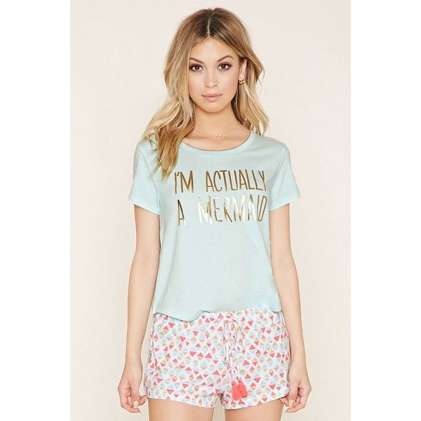 Forever 21 Women's  Mermaid PJ Set ($15) ❤ liked on Polyvore featuring intimates, sleepwear, pajamas, forever 21, forever 21 sleepwear, forever 21 pajamas, short sleeve pajamas and forever 21 pjs