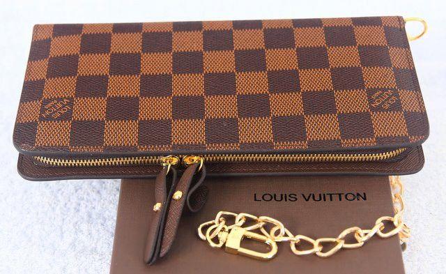 Кошелек-портмоне Louis Vuitton (луи витон) Damier Ebene canvas Insolite Wallet (В коричневую клетку), натуральная кожа #18591