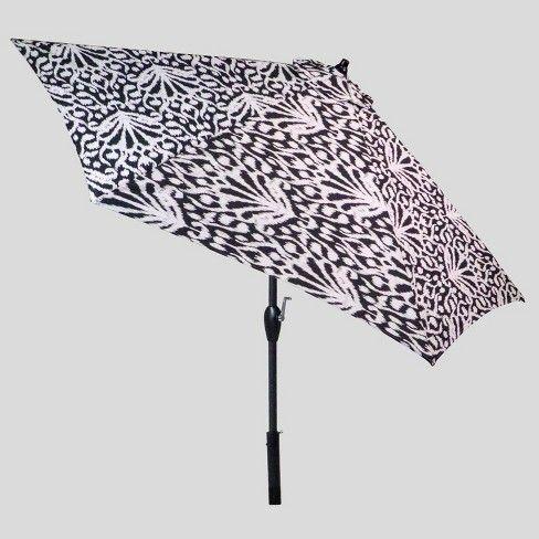 9' Round Peacock Ikat Patio Umbrella Black Threshold