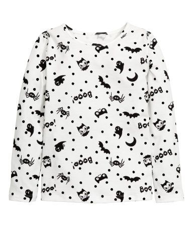 White/bat. Long-sleeved top in jersey with a printed design.