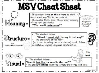 """FREE!! MSV """"cheat Sheet""""; use during running record to determine cause of error...freebie"""