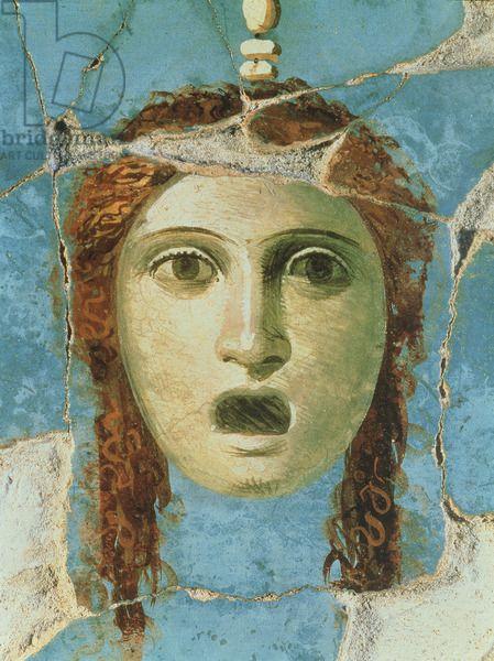 Wall painting of a female head, Pompeii, 1st century AD (fresco). fresco.  01st (C01st).  Wall painting of a female head, Pompeii, 1st century AD (fresco), . / Private Collection / Accademia Italiana, London / The Bridgeman Art Library