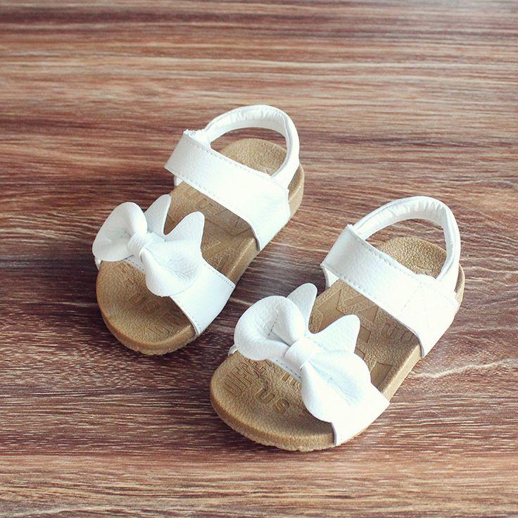 Niños niñas arco zapatos de la princesa sandalias de cuero Genuino 2017 del verano sandalias de suela de bebé antideslizantes 1-3 años de edad