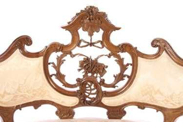 PAIR FRENCH LOUIS XV CARVED WALNUT SETTEES 1910 - 4