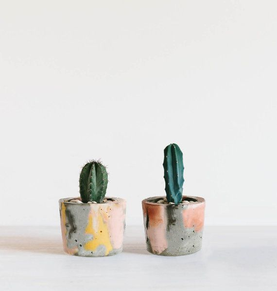 Coloured Concrete Planter Small by foxandramona on Etsy