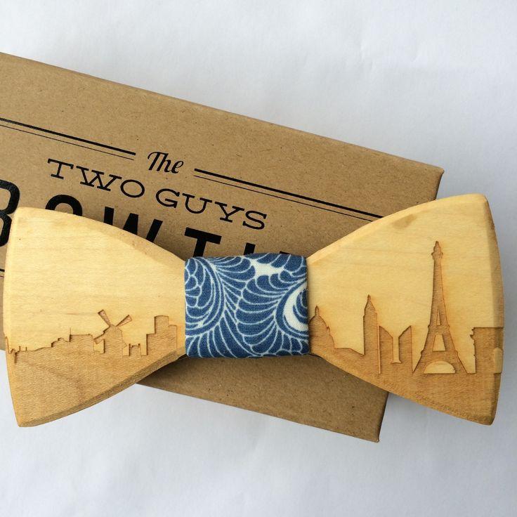 Paris Skyline Wooden Bow Tie