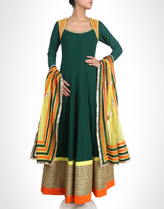 Green anarkali is adorned with yellow and orange embroidery. Available in more colours. Shop Now: www.kimaya.in
