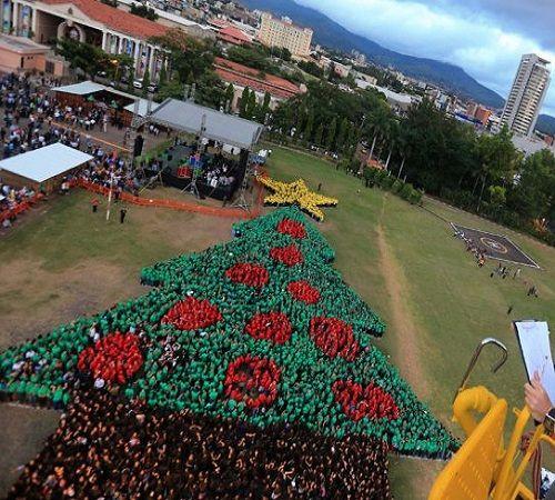 Honduras marcó récord Guinness al formar el árbol humano