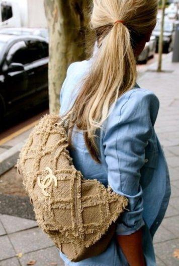 bag + chambray blazer