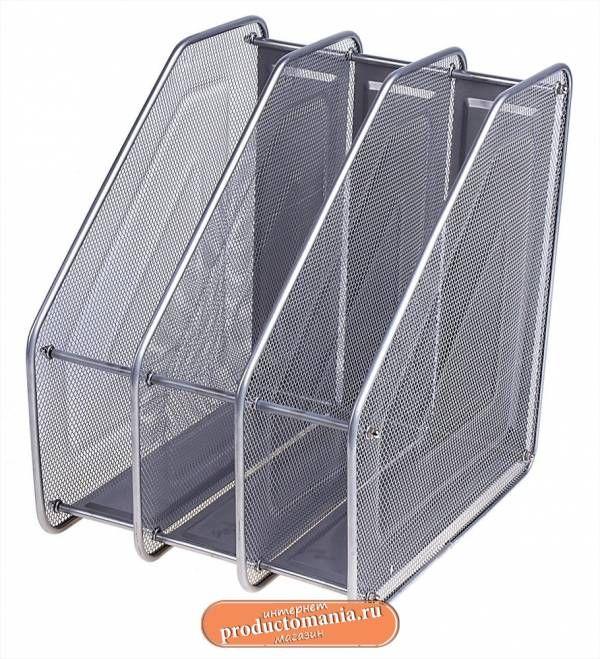 Лоток вертикальный для бумаг, с 3 отделами, в сетку, серый pr3717157 - Настольные наборы, подставки металлические - Интернет-магазин Продуктомания