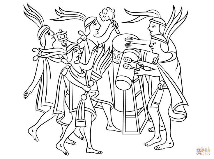 Dibujo de Ceremonia Azteca de la Flor para colorear | Dibujos para ...