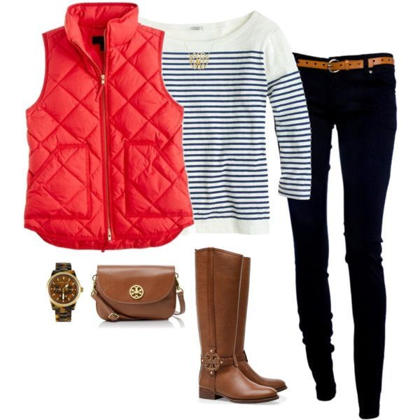 This adorable casual outfit is perfect for a day of class or shopping. Pair a navy and cream striped tee with dark skinny jeans and tall riding boots, and add a bright puffy vest for a pop of color and a bit of warmth.