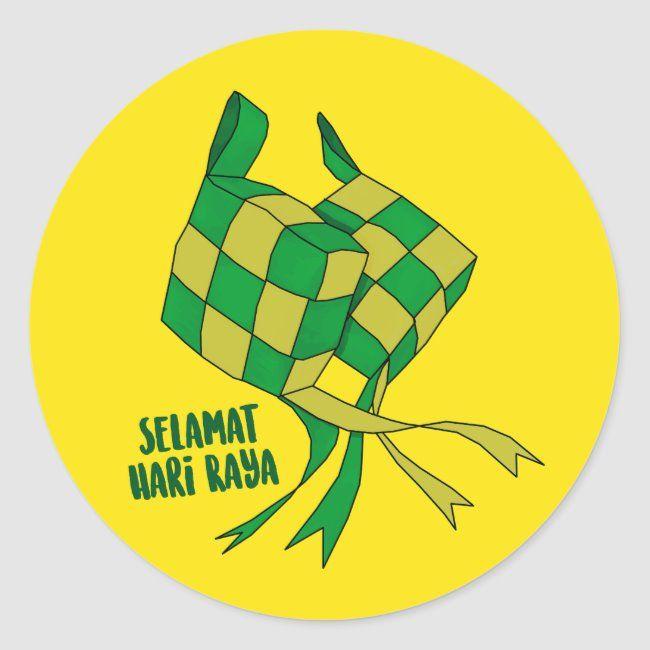 Hari Raya Classic Round Sticker Zazzle Com In 2021 Print Stickers Round Stickers Sticker Design