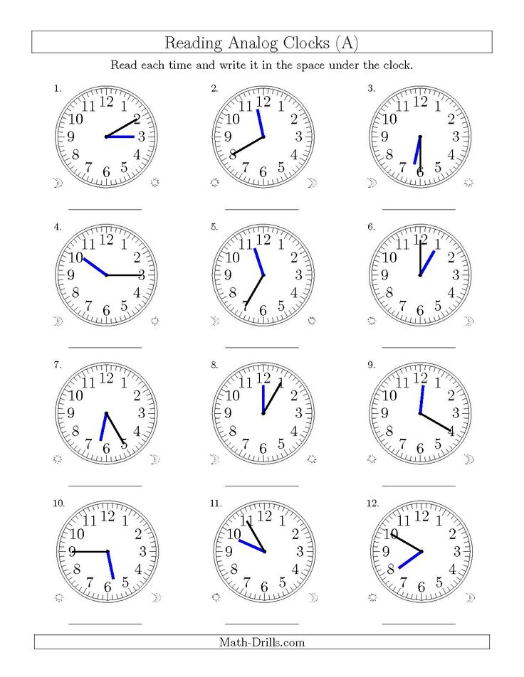 The Reading Time on 12 Hour Analog Clocks in 5 Minute Intervals (A) math worksheet from the Time Worksheet page at Math-Drills.com.