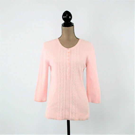 Light Pink Sweater Women Medium Cable Knit Cotton Top 3 4 Etsy Pink Sweaters Women Light Pink Sweaters Women
