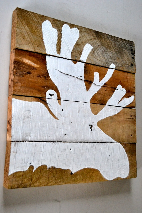 Reclaimed Wood Moose Silhouette by TheRucheFox on Etsy, $45.00 great for Phil for xmas