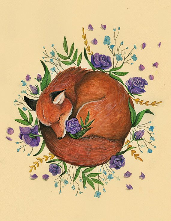 Floral Fox, fox illustration with flowers,17 x 22 Art Print Illustration Drawing Poster Wall Décor Wall Hanging: