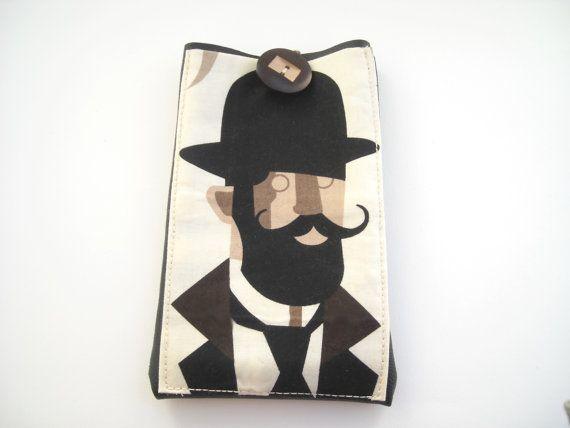 "Mustache man hipster Kindle Paperwhite case, eReader 6""tablet cover, black faux leather holder with pocket"